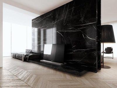 marmeren natuursteen wand in de woonkamer